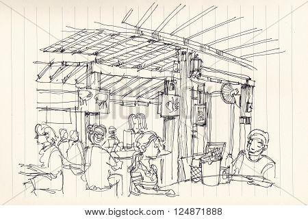 Thai street food restuarant atmosphere illustration sketch