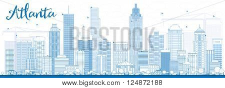 Outline Atlanta Skyline with Blue Buildings. Vector Illustration. Business Travel and Tourism Concept with Modern Buildings. Image for Presentation Banner Placard and Web Site.