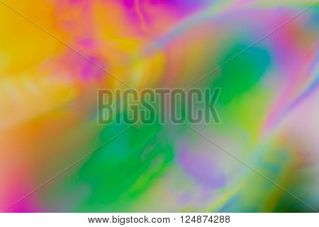 Colorful psychedelic blur showing stress distribution in plastic using polarized light poster