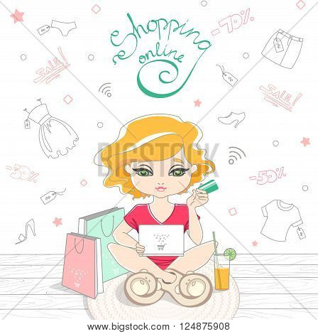 Cartoon Cute Girl Shopping On-line On The Background Of The Doodle Clothes.