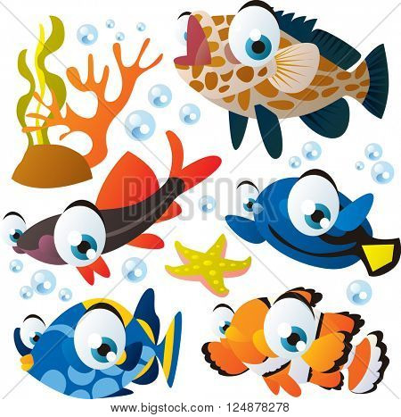 vector cute collection of comic cartoon animals: tropical bright color fish. Underwater sealife  Aquarium.