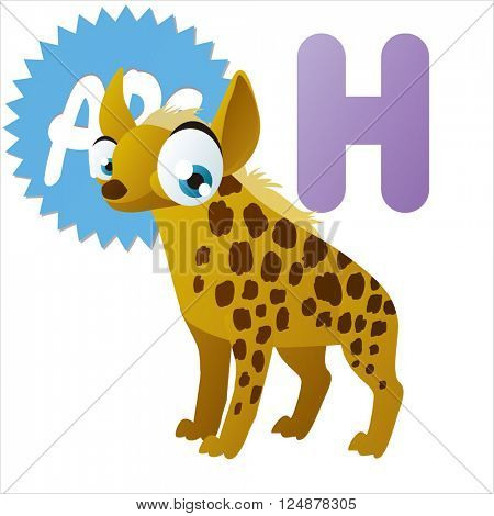 vector cute animal alphabet. Comic big eyes pets: H is for Hyena