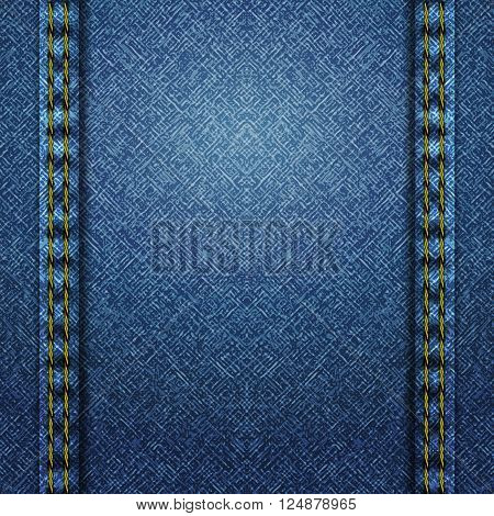 Textured striped blue jeans denim linen fabric background. Vector Illustration. EPS 10.