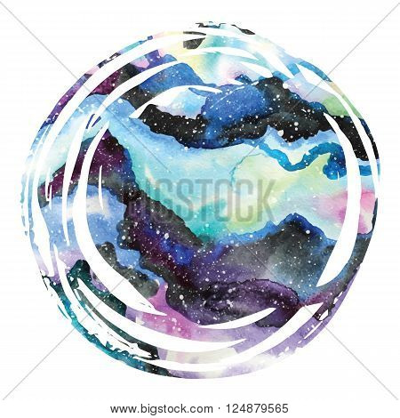 Watercolor galaxy background. Watercolor galaxy illustration. Vector trendy modern illustration.