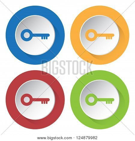 set of four icons - blue yellow red and green key