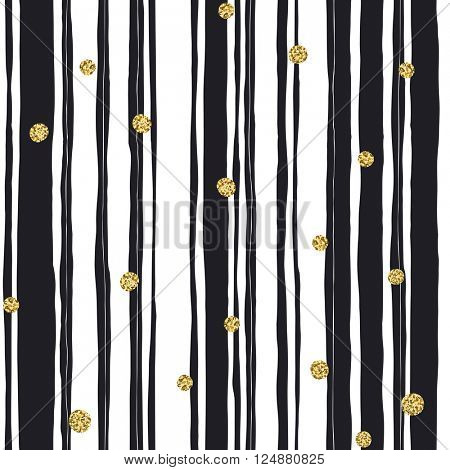 Black stripes seamless pattern and golden dots