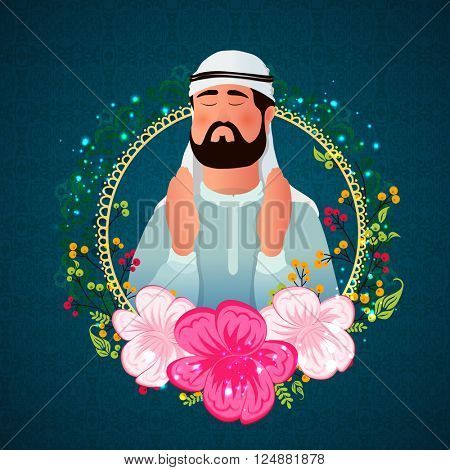 Religious Arabian Man reading Namaz (Islamic Prayer) in beautiful flowers decorated frame for Islamic Festival concept.