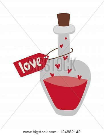 Cartoon love potion icon heart shaped with letter label and magic love potion. Love potion in glass bottle. Romantic love potion in heart shaped glass flask retro letter label flat cartoon vector.