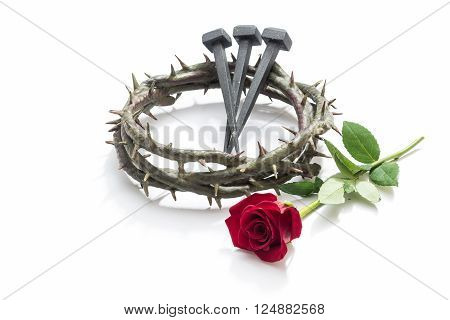 Jesus Christ Crown Of Thorns, Nails And A Rose.