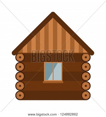 Wood house with glass window and wall of wood house. Building new construction wood house cottage exterior. Wooden house architecture design estate old wall with glass window flat vector illustration.