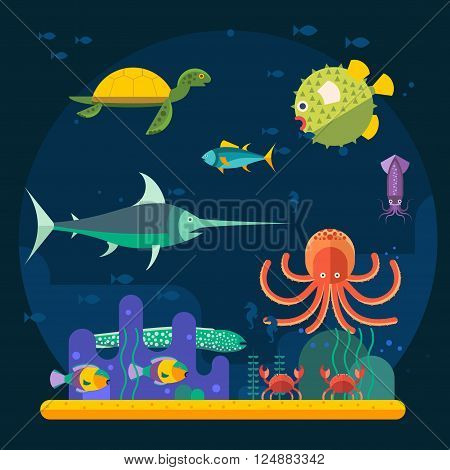 Underwater background with various water plant and swimming tropical fish. Underwater background with fish. Underwater background coral garden with glossy water surface colorful fish playing vector
