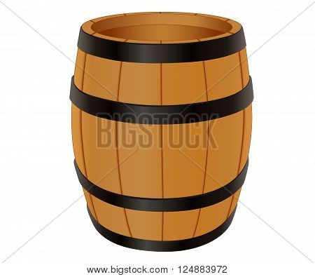 Empty wooden barrel, vector illustration isolated on white
