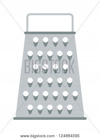 Cooking stainless kitchen grater and steel food cut kitchen grater. Kitchen metallic grater blade grate accessory. Cheese kitchen grater metal handle utensil equipment flat vector illustration.
