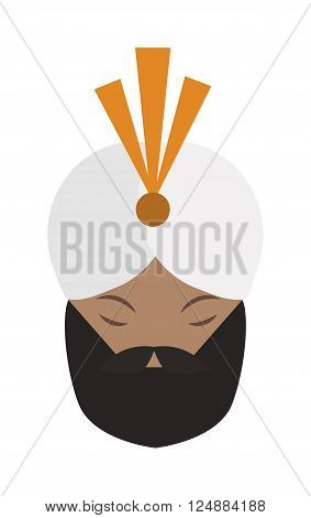 Portrait of casually indian face young beard, mustache man with white gandhi vector. Gandhi indian face and bread indian face mustache. Casual happy attractive indian traditional culture character.