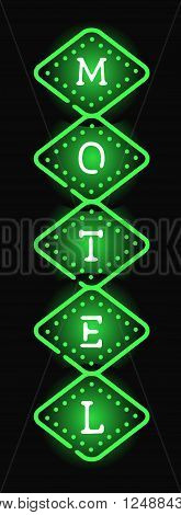 Glowing hotel sign with light neon bulbs retro billboard advertise style vector. Hotel sign billboard and neon hotel sign. Motel neon arrow vintage sign signboard color text. Highway electric lodging.