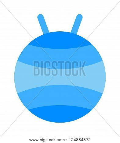 Fitball or large sports rubber ball for fitness exercises healthy lifestyle flat vector illustration. Training fitball and sport fitness fitball. Active healthy workout aerobics fitball equipment.