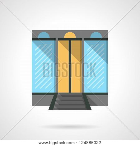 Shopping center facade with large glass windows. Commercial building. Storefront and showcases. Flat color style vector icon. Web design element for site, mobile and business.