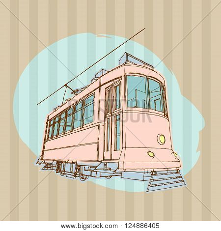 Vector retro tram. Hand drawn illustration of vintage tramcar.