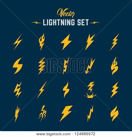 Unusual Abstract Vector Lightning or Blizzard Flat Style Icon Set. Yellow on Blue Background.