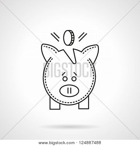 Piggy bank with coin. Deposits symbol. Banking and finance. E-business. Flat line style vector icon. Single design element for website, business.