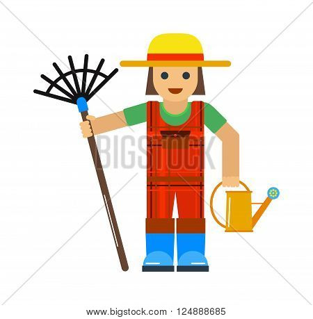 Gardener man Gardener man work plant and gardener man worker. Work garden care person and manual grass yard equipment worker. Garden hobby. Gardener man worker with sprinkle and rake vector.
