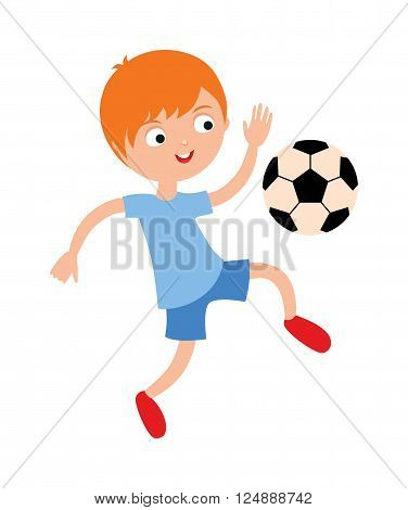 Young child boy playing football vector illustration. Football boy playing, football boy running. Football boy play soccer