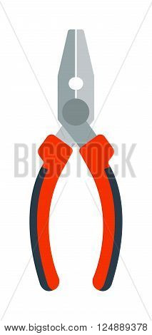 Pliers hand tool flat cartoon vector. Vector illustration pliers with red handle. Pliers worker equipment. Pliers flat icon. Pliers hand instrument. Pliers clipping instrument.