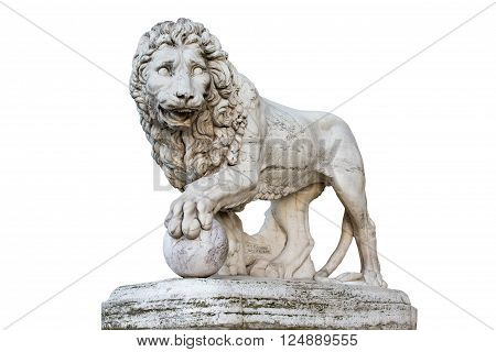 Famous Medici Lion statue by Vacca (1598). Sculpted of marble and located on the Piazza della Signoria in Florence Italy. Isolated on a white background. Concepts could include art history power culture others.
