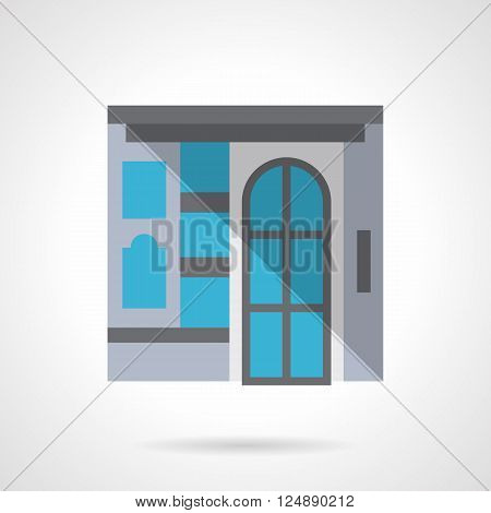 Facade with glass door and a showcase. Commercial building for business and marketing. Storefronts and showcases. Flat color style vector icon. Web design element for site, mobile and business.