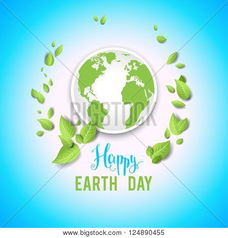 Festive earth day card for design banner,ticket, leaflet and so on.Template page for Earth day. Holiday card. Green globe and leaves.