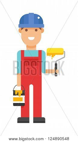 Serviceman builder professional and serviceman worker maintenance repair. Service man occupation fixing mechanic worker. Repair serviceman repair cartoon character vector