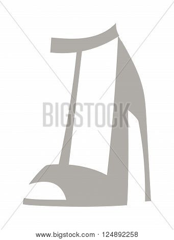 Glamour gray shoes stylish and original design shoes. Grey shoes new fashionable accessory with high heels. High heels with inner platform sole patent leather shoes foot accessory flat vector.