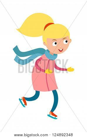 Girl skating fun and winter sport girl skating. Girl skating activity happy ice skating. Pretty cheerful little girl thermal suits skating outdoors in blue scarf and mittens cartoon character vector.