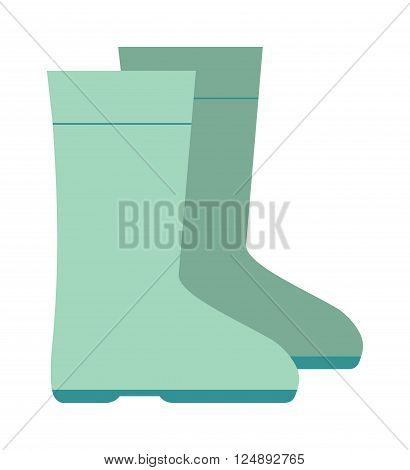 Rain boots green color vector illustration isolated on white background. Green rubber rain boots. Rain boots flat cartoon vector. Rubber boots footwear waterproof. Rain boots icon