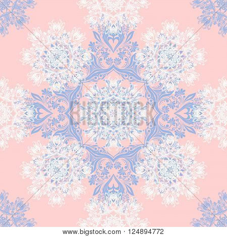 Rose Quartz and Serenity trendy colors of the year 2016 in the seamless pattern. Zentangle or doodle style ornament with mandalas and floral elements. For fabric textile or print design