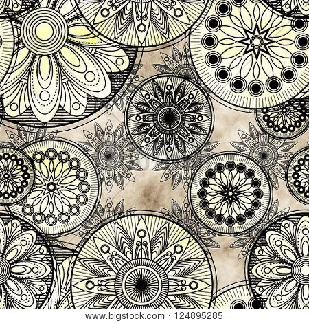 art vintage stylized geometric flowers seamless pattern, grunge monochrome background with  black and white colors