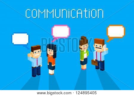 Business People Group Chat Communication Bubble Concept, Business People Talking Discussing 3d Isometric Flat Design Vector Illustration