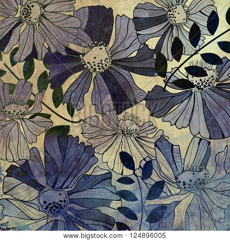 art vintage stylized flowers pattern, monochrome background in blue and black colors