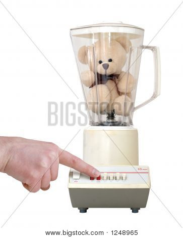 Teddy In Blender With Finger Pushing Button, Isolated On White B