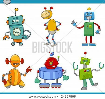 Cartoon Illustration of Robots or Droids Fantasy Characters Set