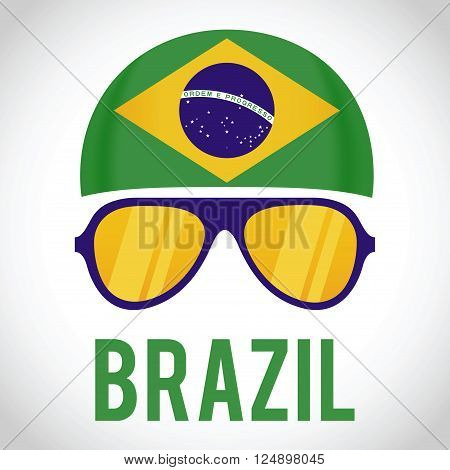 Head band and sunglasses with Brazil insignia vector illustration