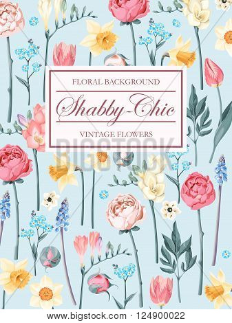 Shabby-chic vector background decorated with peonies and forget-me-not