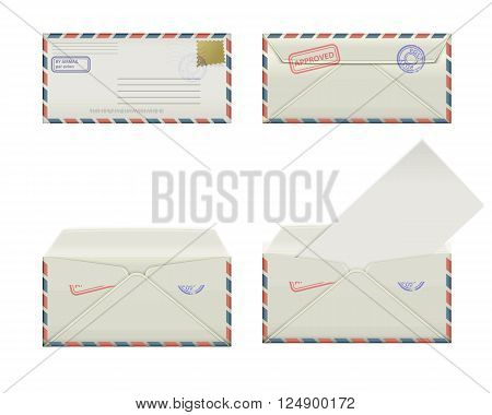 Set of four narrow envelopes with stamps and label. The collection includes a front view rear view and open the envelope and the envelope with the letter. Vector illustration.