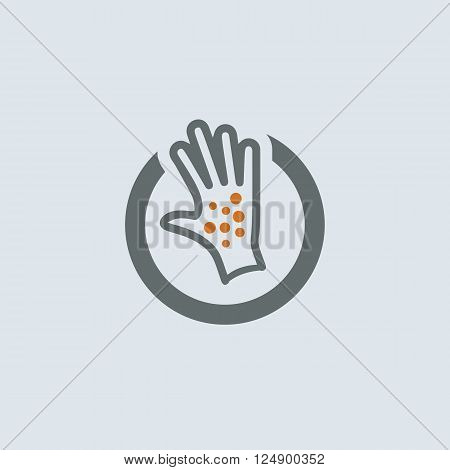 Gray-orange itchy palm with skin eruption round web icon