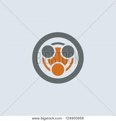 Gray-orange stylized infection symbol round web icon