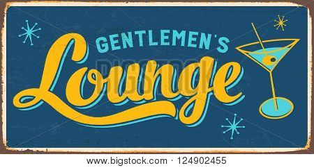 Vintage Metal Sign - Gentlemen's Lounge - Vector EPS10. Grunge effects can be easily removed for a cleaner look.