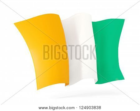 Waving flag of cote d Ivoire isolated on white. 3D illustration