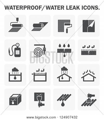 Waterproofing and water leaked vector icon design.