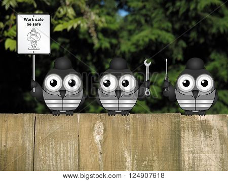 Construction work safe be safe message with construction workers perched on a timber garden fence against a foliage background