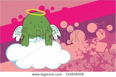 sweet cherub turtle cartoon background in vector format very easy to edit
